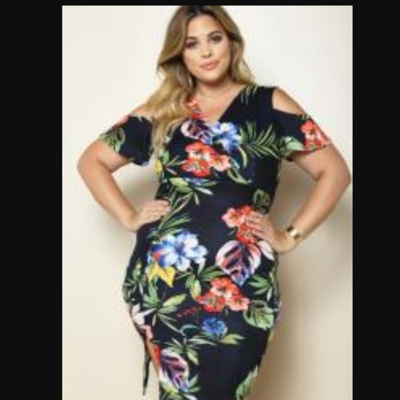 PLUS SIZE TROPICAL DRESS NWT
